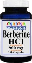 Pure and High Potency Berberine; 900mg Per Serving; 180 Capsules