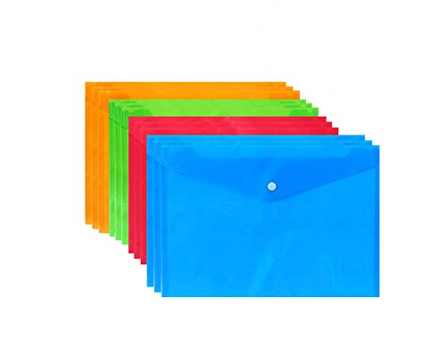 Purida 12 Pack Plastic Folders with Closure - Plastic Pocket Folder, Plastic File Folders, Poly Folder, A4, Letter Size 4 Assorted Colors- Red, Blue, Orange, Green by Purida