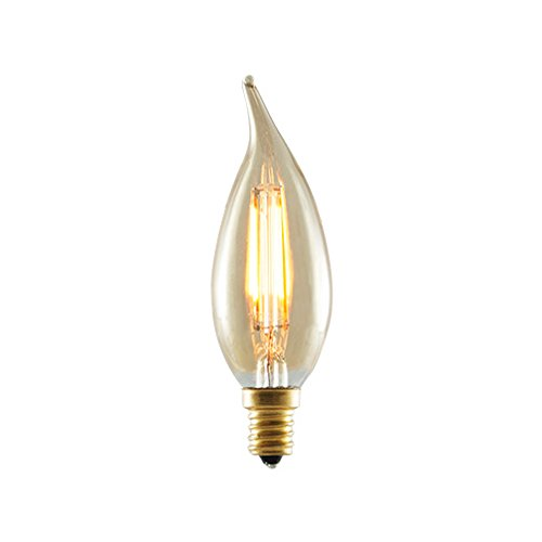 Bulbrite 776503 25W Equivalent LED2CA10/22K/FIL-NOS 2W LED Nostalgic CA10 Flame-Tip Chandelier Bulb with Candelabra Base, Antique Finish