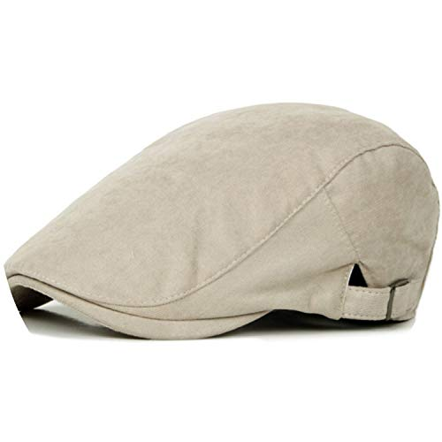 Spring Sun Hats for Men Classic Western Newsboy Caps Woman Cotton Blend Ivy Caps Flat,Beige, ()
