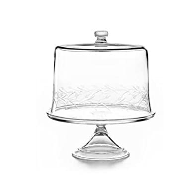 Martha Stewart Collection Serveware Glass Cake Stand with Leaf Dome  sc 1 st  Amazon.com & Amazon.com: Martha Stewart Collection Serveware Glass Cake Stand ...