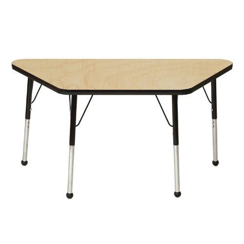 Mahar Kids 30'' X 60'' Trapezoid Table Top Color: Maple, Edge Color: Teal, Leg Height: Toddler 16''-24'', Glide Style: Ball by Mahar