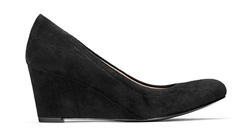 Picture of Vionic Women's Lux Camden Wedge Black Suede Size 7 Medium