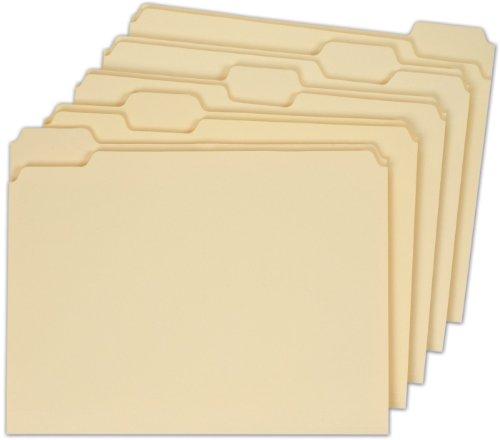 Globe-Weis File Folders, 1/5 Cut, Single-Ply Tab, Letter Size, Manila, 100 Folders Per Box (11350GW)