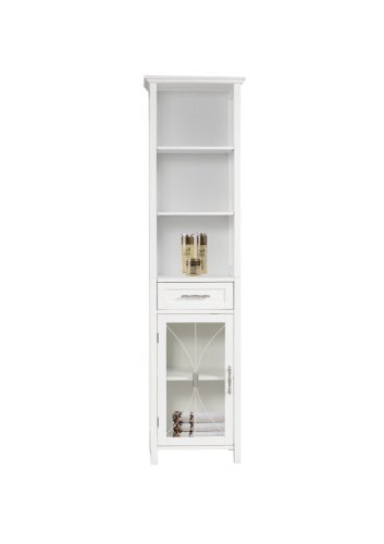 Linen Storage Furniture (Elegant Home Fashions Delaney Linen Cabinet with 1 Drawer and 3 Open Shelves, White)