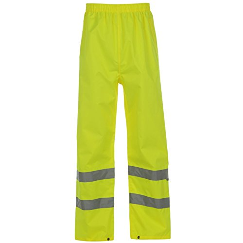Dunlop Mens Gents Hi Vis Waterproof Pants Trousers Bottoms Popper Hem Clothing Yellow Large (Dunlop Sporting Goods)