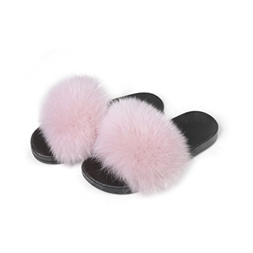 (Fur Story Women's Fox Fur Slides for Summer Fur Slippers for Outdoor Soft Flat Fluffy Slippers)