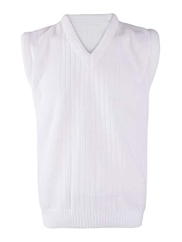 MA ONLINE Men Bowling White V Neck Sleeveless Knitted Ribbed Vest Top Adult Sports Sweater White Large