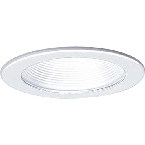 Progress Lighting P8044-28 Step Baffle Ic Trims with 360 Degree Positioning That Tilt 20 Degrees with 5-Inch Outside Diameter, White