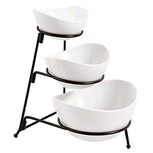 3 Tier Oval Bowl Set with Metal Rack, White Party Food Server Display Set - Tiered Serving Stand - Three Ceramic Fruit Bowl Serving - Dessert Appetizer Cake Candy Chip Dip ()