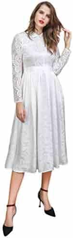 e5befc044 VOA White Lace Silk Dress Sweet High Waist Tunic Fall Mesh Swing Dresses  Retro