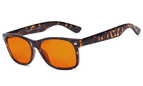 Eyekepper Blue Blocking Amber Bifocal Glasses for Sleep-Nighttime Bifocal Readers-Special Orange Tinted Glasses for Women Men (Tortoise, 1.50)