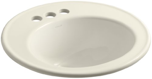 KOHLER K-2202-4-47 Brookline Self-Rimming Bathroom Sink, Almond