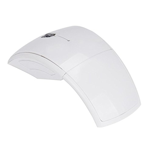 CoolDi Ultrathin Arc USB Mini Foldable Folding Wireless Optical Mouse Mice 2.4GHz for Pad PC Laptop Notebook Computer (White)