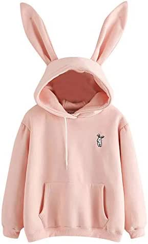 Womens Fashion Long Sleeve Rabbit Hoodie Sweatshirt Pullover Top Jumper Casual Solid Color Print Hooded Blouse