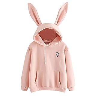 Meikosks Women's Rabbit Hoodie Long Sleeve Sweatshirt Solid Pullover Tops Blouse