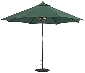 Tropishade 9 Ft Wood Market Umbrella With Premium Green Olefin Cover