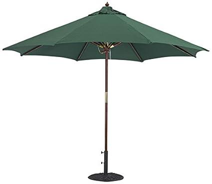09a92f5155 Tropishade 9 ft Wood Market Umbrella with Premium Green Olefin Cover