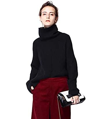 FINCATI Black Sweater Women Turtleneck Cashmere Plus Size Long Sleeve Ribbed Sweaters Jersey Jumpers Wool Pullover (M, Black)