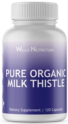 Pure Organic Milk Thistle Capsules for Liver Support & Weight Loss, Non GMO, Gluten Free, No Fillers or Additives, Concentrated Silymarin & Highly Bioavailable, 120 Capsules