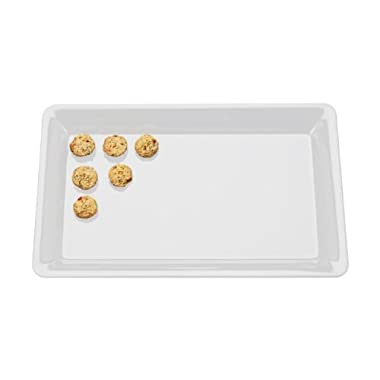 White Plastic Serving Tray, Rectangular 18  x 12