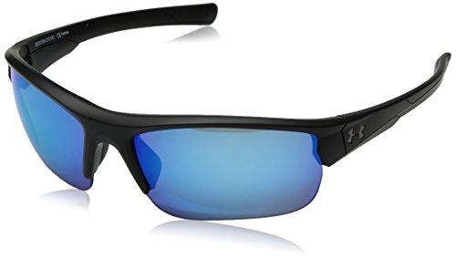 Under Armour UA Propel Wrap Sunglasses, UA Propel Satin Black / Black Frame / Gray / Blue Multiflection Lens, 68mm