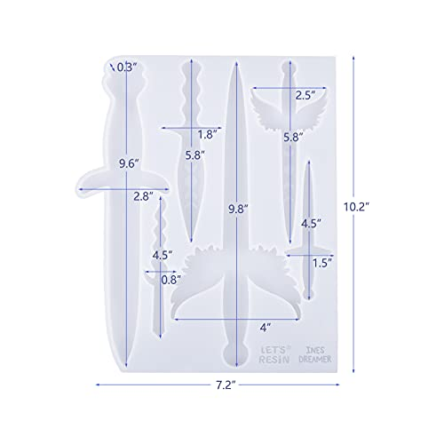 LET'S RESIN Dagger Resin Moulds,Dagger Atham Silicone Moulds for Epoxy Resin, with 6 Different Shape Sword Resin Moulds, Epoxy Moulds for Keychain, Decoration, Cosplay