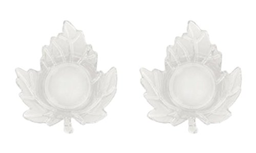 Autumn Harvest Leaf Shaped Glass Tealight Candle Holders ~ Set of 2 (Clear) ()
