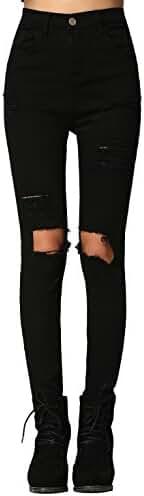 SweatyRocks Women's Casual High Waist Ripped Skinny Jeans Distressed Denim Pants
