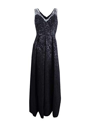 - Adrianna Papell Womens Jacquard Beaded Evening Dress Black 4