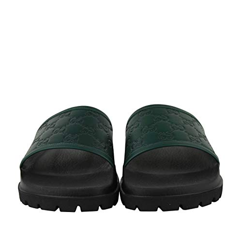 55427ec6 Gucci Guccissima Pattern Green/Black Leather Sandals 431070 3020 (6 G / 6.5  US)