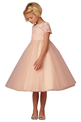 Leyidress Ivory Blush Lace Tulle Wedding Flower Girl Dress Kenn Length Gril Dress Formal Occasion Kids Party Dress ()