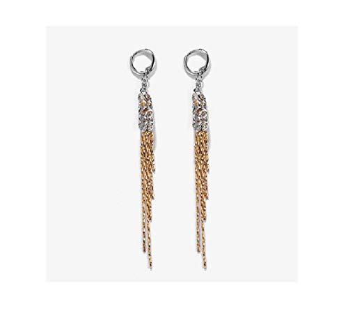 uPrimor Gold, Rhodium Two Tone Chandelier Tassel String Dangling Drop Earrings ()