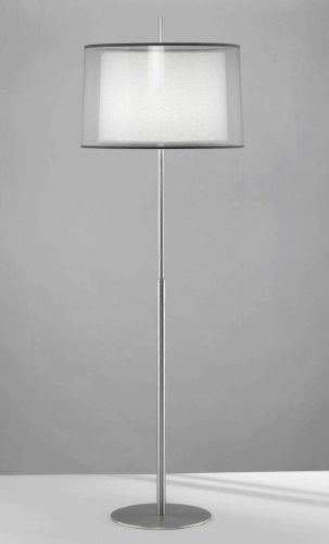 Robert Abbey S2191 Lamps with Silver Transparent Exterior and Ascot White Fabric Interior Shades, Stainless Steel Finish