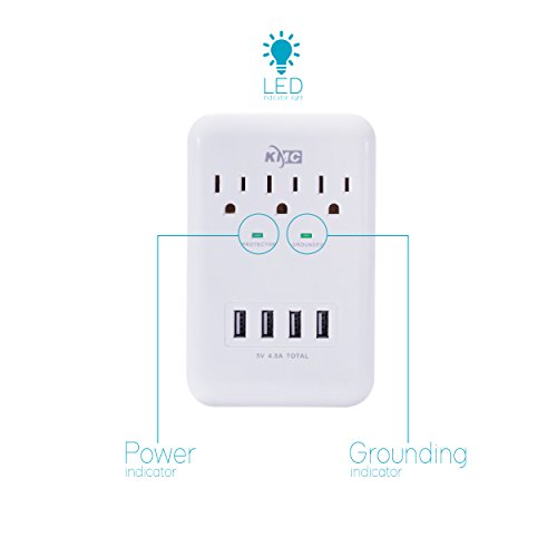 KMC 3-Outlet Wall Mount Surge Protector with 4 USB Charging Ports (4.8 AMP) by KMC (Image #2)