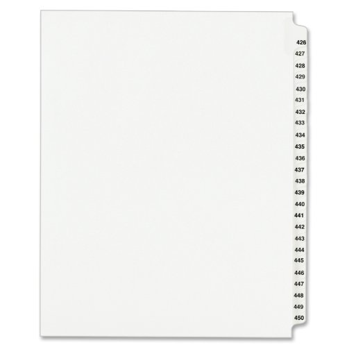 Avery Legal Dividers, Standard Collated Sets, Letter Size, Side Tabs, 426-450 Tab Set (01347)