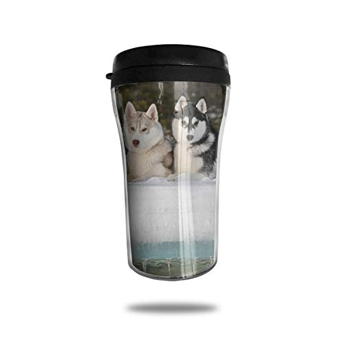 FTRGRAFE Sled Dog Siberian Husky Alaskan Malamute Travel Coffee Mug 3D Printed Portable Vacuum Cup,Insulated Tea Cup Water Bottle Tumblers for Drinking with Lid 8.54 Oz (250 -
