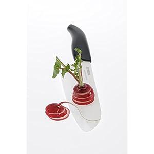 Kyocera Advanced Ceramic Revolution Series 4.5-inch Mini Santoku Knife, Black Handle, White Blade