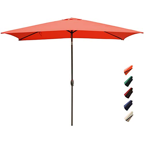 RUBEDER Rectangular Patio Umbrella - 6.6 by 10 Ft Outdoor Market Table Umbrellas with Push Button Tilt and Crank Lift,6 Sturdy Square Ribs (6.6 X 10 Ft, Orange) (Square Table Umbrella Patio)