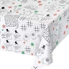 Kids Activity Christmas Holiday Paper Table Cover and Activity Placemats with Stickers and Crayons for 8 Guests