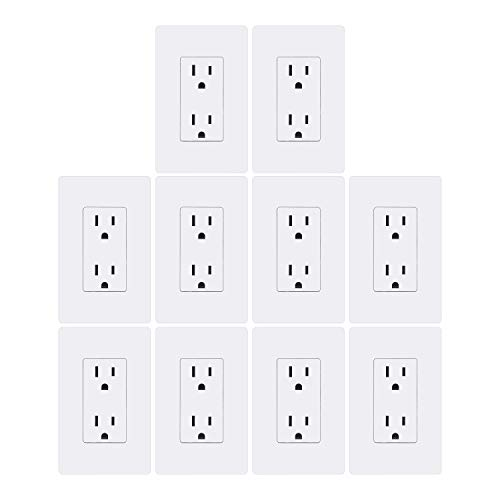 [10 Pack] BESTTEN Decorator Wall Receptacle Outlet, Decorative Screwless Wall Plate Included, Non-Tamper-Resistant, 15A/125V/1875W, Grounding, for Residential and Commercial, UL Listed, White ()