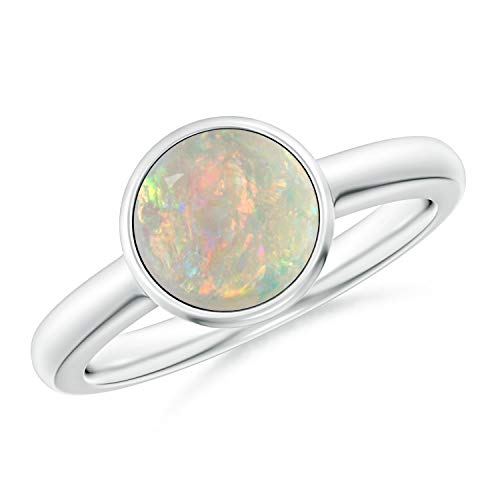 Bezel-Set Round Opal Solitaire Engagement Ring in 14K White Gold (8mm Opal) -