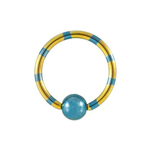 Monster Steel Single | Generic | Yellow and Blue Striped Anodized Titanium Captive Bead Ring | CBR|10mm Blue Titanium Anodized Captive Ring