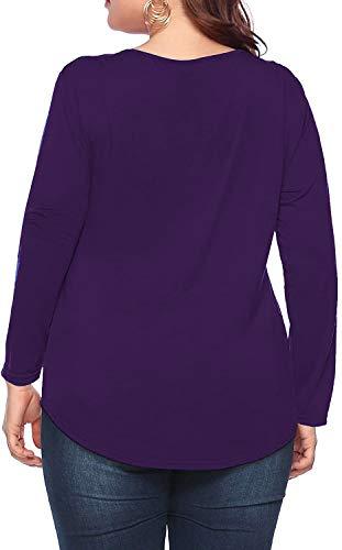 caidyny Womens Plus-Size V-Neck Tops, Causal Long Sleeve Soild Color Tunic Shirts(Purple, 2XL)