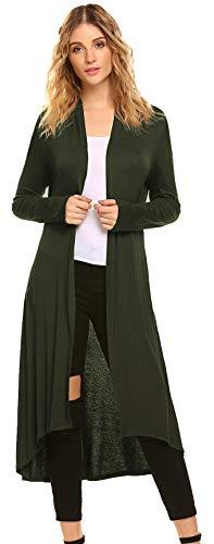 POGTMM Women's Long Open Front Drape Lightweight Maxi Long Sleeve Cardigan Sweater (US XXL(20-22), Olive)