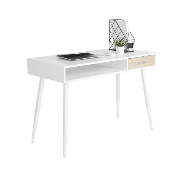 WOLTU TS39ws Bureau d'ordinateur Table de Bureau en Acier et MDF,Table de Travail PC Table d'ordinateur Portable avec 1…