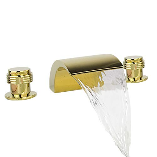 3 Pcs Golden Color Tap 2 Handle Waterfall Bathroom Basin Sink Bathtub Mixer Faucet , Chrome Finish Ys7608