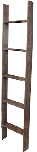 BarnwoodUSA Rustic 5 Foot Decorative Wooden Display Ladder - 100% Reclaimed Wood, Brown (Towel With Ladder Shelf)