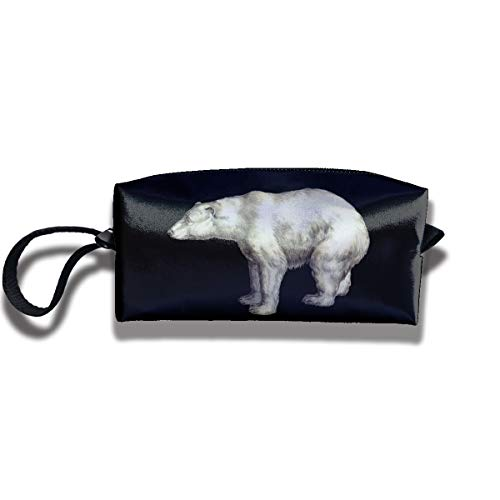 Cosmetic Bags With Zipper Makeup Bag Funny Polar Bear Middle Wallet Hangbag Wristlet Holder -
