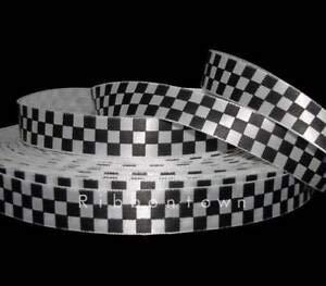 5 Yards Black White Checkered Nascar Racing Flag Satin Ribbon 5/8
